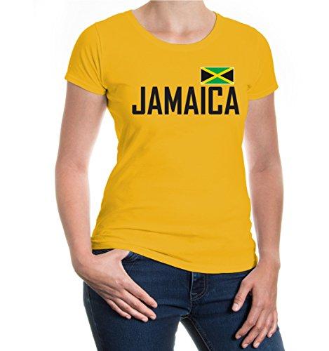 buXsbaum® Damen Girlie Kurzarm T-Shirt bedruckt Jamaika | Ländershirt Fanshirt Flagge | XL sunflower- Gelb