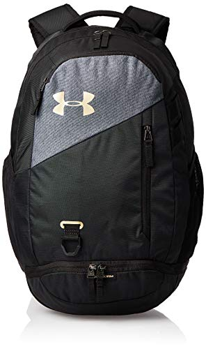Under Armour Adult Hustle 4.0 Backpack , Black (003)/Metallic Gold , One Size