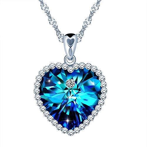 """SixLuo Damen Halskette""""Herz des Ozeans""""925 Sterling Silber Herz Anhänger Klein Zirkonia Kette mit Anhänger Geschenke für Frauen"""