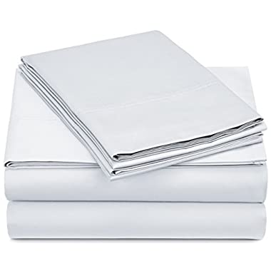 Pinzon 500-Thread-Count Pima Cotton Sateen Sheet Set - Queen, White