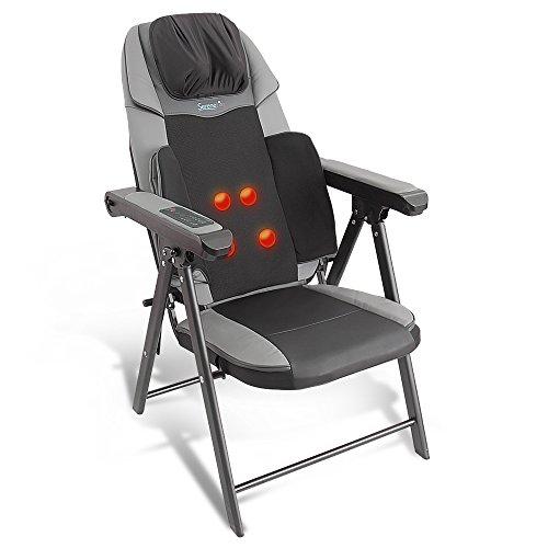 Electric Foldable Shiatsu Massage Chair - Neck Back Waist Portable Folding Home Seat Massager w/ Power Saving Auto Shut-Off, Leather Seats, Arm Rest, Heated Kneading Roller, USB - SereneLife SLMSGCH20