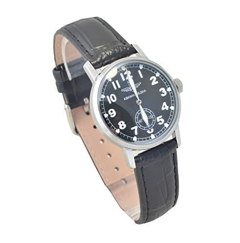 Military Pobeda Air Reconnaissance Mens Wrist Watch Aviator Vintage USSR Rare (Classic Black Strap)