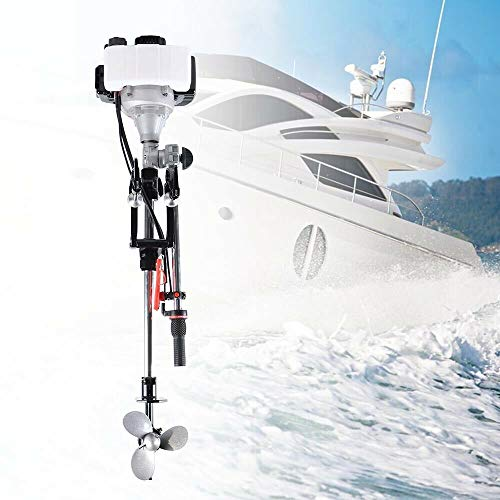 YUNRUX Manueller Start Außenbordmotor 2-Takt Benzin-Bootsmotor 2.3 PS Außenborder CDI Benzinmotor Bootsmotor für Schlauchboote, Fischerboote 52CC