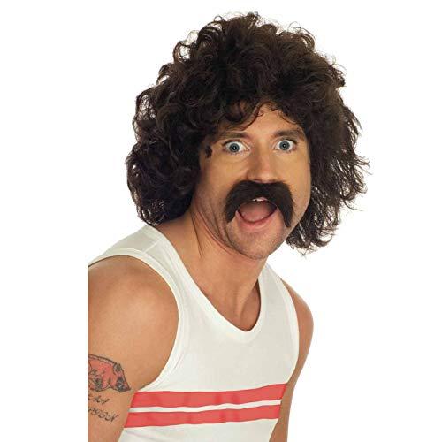 Fun Shake Perruque Brune & Moustache Marron pour Homme