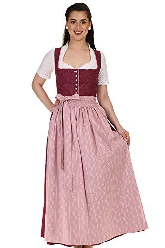 Turi Landhausmode Damen Dirndl lang Trachtendirndl Baumwolle D911051 Berry Rocklänge 95cm Bordeaux Gr.52