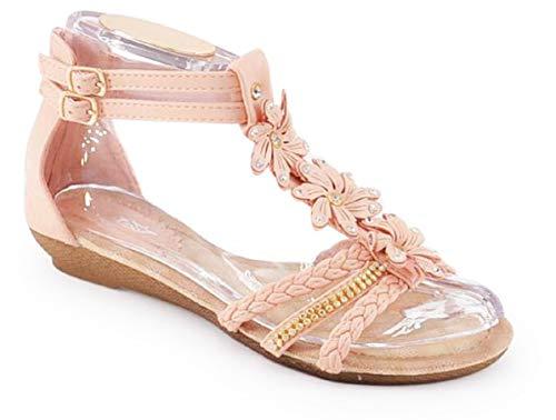 Schuhtraum Damen Sandalen Sandaletten ST98 Keilabsatz Blumen Glitzer Zehentrenner (40, Pink/Rosa)