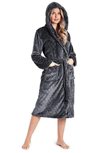 CityComfort Dames Dressing Shaggy Soft Polaire Femmes Robes Robe Peignoir Loungewear pour Elle (Gris Foncé, M)