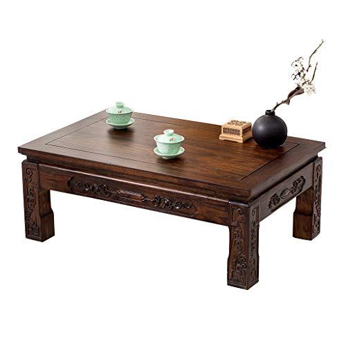 Weq Salontafel, massief hout, laag tafelbeuk, raam, kleine schrijftafel, antieke oude ultdoortafel, Japanse tatami, salontafel, woonkamer