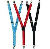 SET 3 x KINDERHOSENTRÄGER Stretch Kinder Hosenträger für Hosen Kinder 2-6 Jahre Made in EU (Blau)