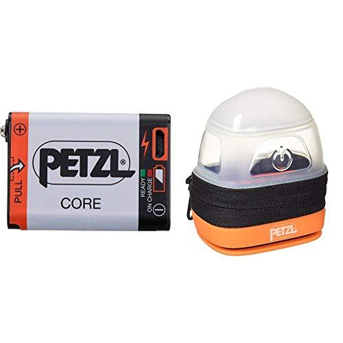 PETZL Core Akku für Stirnlampen mit Hybrid Concept & Erwachsene Noctilight Stirnlampe Schutzhülle, One Size, Schwarz/Orange