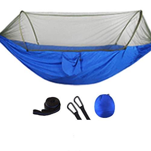 EQVUDJT Hamaca Jardin Exterior, Outdoor Mosquito Net Parachute Hammock Portable Camping Hanging Sleeping Bed High Strength Sleeping Swing 250x120cm for Patio Yard Garden Blue