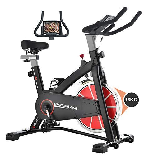 Syrinx スピンバイク 16kgホイール ベルトドライブ フィットネスバイク 屋内エクササイズバイク 静音設計室内エアロバイク 本格トレーニング 移動キャスター付き ワイドサドル&ハンドル調節可能