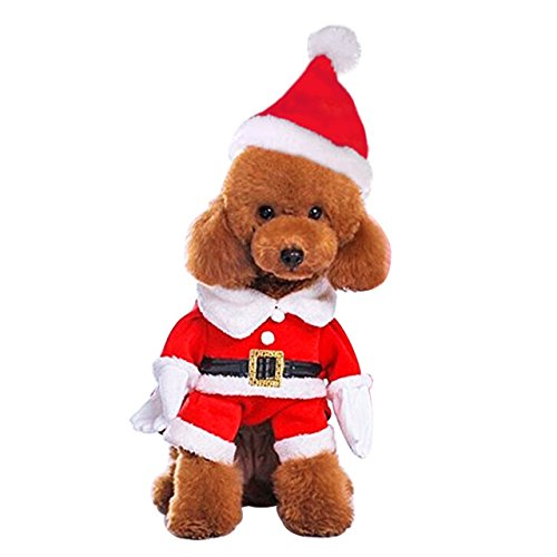 Mogoko Dog Cat Christmas Santa Claus Costume, Funny Pet Cosplay Outfits with a Cap, Puppy Fleece Warm Apparel Clothes for Xmas (L Size)