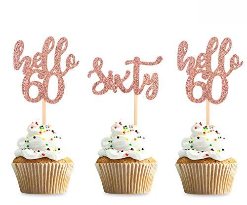 Keaziu 36pcs Rose Gold 60th Birthday Cupcake Toppers Hello 60 Sixty Birthday Cupcake Topper Decor,Anniversary Decor,Sixty Party Cake Decor