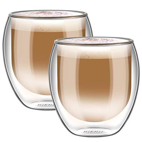 hirmit Doppelwandige Gläser Set Kaffeetassen 350 mL Trinkgläser für Espresso Tee Latte Cola Cappuccino Getränk (400 ml)