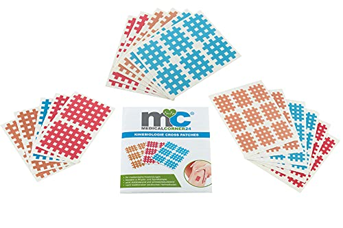 Medicalcorner24® Kinesiologie Gittertape 102 Stück, Cross-Patches, Cross Tape, Gitterpflaster, Akupunktur-Pflaster, in versch. Größen und Farben, Beige, Blau, Pink