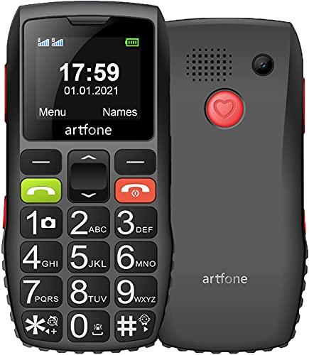 Telefono cellulare GSM Artfone per anziani con grandi chiavi | Pulsante di emergenza SOS | Lantern |. Radio Sound High | Batteria da 1400 mAh.