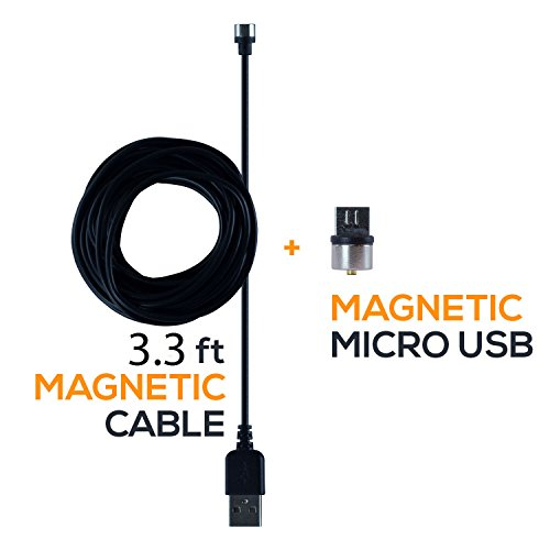SOJITEK Genuine Detachable Magnetic Charging Charger (No Data Sync, No Fast Charge) 3.3FT (2A) Cable with Micro USB/Android Phone Magnetic Connector for Micro USB 2.0 A Male to Micro B