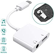 Type-C to 3.5mm Headphone Adapter with Carry Bag,(Audio+Charge+Call+Volume Control) Klearlook USB-C 2 in 1 Digital Audio&Fast Charge Adaptor Splitter fori Pad 2018/Galaxy Note 10/Pixel/H uawei andmore