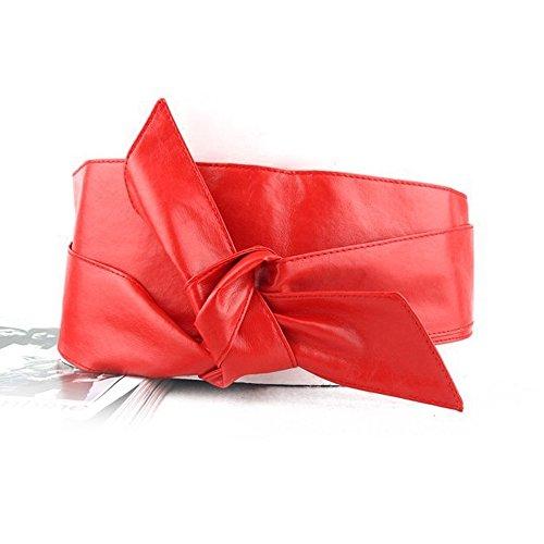 MerssavoFemmes en cuir souple auto-attaché Bowknot-Band emballage pour affûtage Ceinture Obi-Gurt plus Taille