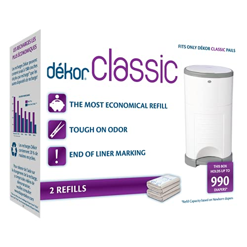 Dekor Classic Diaper Pail Refills | 2 Count | Most Economical Refill System | Quick & Easy to Replace | No Preset Bag Size – Use Only What You Need | Exclusive End-of-Liner Marking | Baby Powder Scent