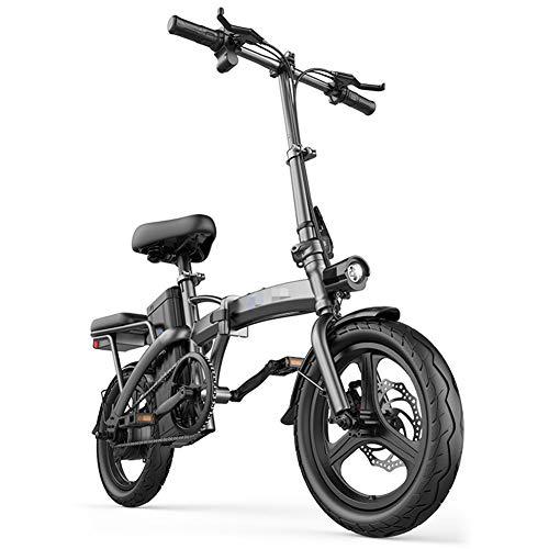 SHJC Elektrofahrrad Faltbares Mountainbike,14 Zoll E-Bike Trekking und City Bike 400W 48V Samsung Lithium-Ionen Batterie Damen und Herren E-Bike,Schwarz