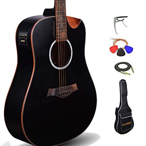 Kadence Slowhand Premium Jumbo Semi Acoustic Guitar with Heavy Padded Bag, guitar cable, Pro Capo and Fibre guitar stand (Black Spruce Wood)