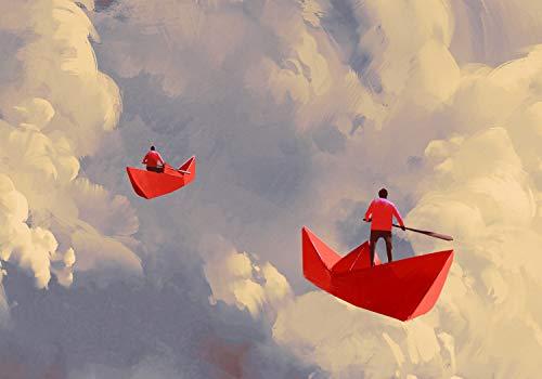 wandmotiv24 Fototapete Anime Fantasy Wolken Schiff, XL 350 x 245 cm - 7 Teile, Fototapeten, Wandbild, Motivtapeten, Vlies-Tapeten, Papierschiff Origami Fliegen M5850