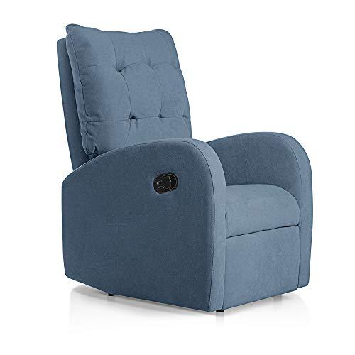 SUENOSZZZ-ESPECIALISTAS DEL DESCANSO Sillon Relax orejero reclinable Soft tapizado en Tela Antimanchas Azul