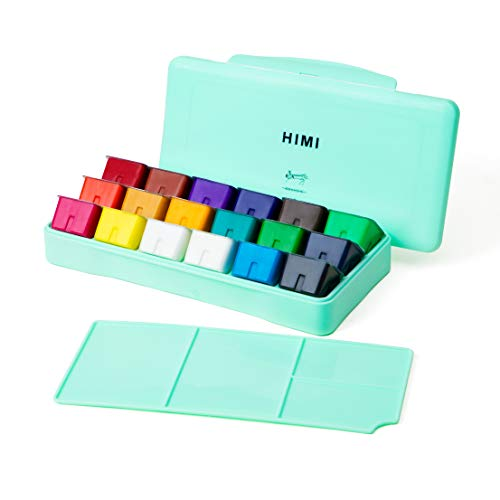 HIMI Gouache Paint Set 18 Colors (30ml/Pc) Paint Set Unique Jelly Cup Design Non Toxic Paints for Artist, Hobby Painters & Kids, Ideal for Canvas Painting for Novelty Gift(Green)