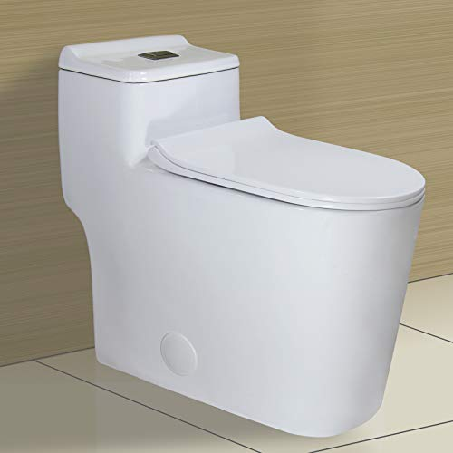"""WinZo WZ5080 Dual Flush Elongated One Piece Toilet Low Profile 17.25"""" Raised Comfort Height with Soft Closing Seat White"""