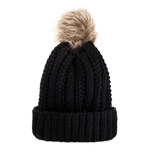 WXRJL Sombrero Cálido De Invierno para Mujer, Lindo Gorro De Punto con Bola De Piel Artificial, Sombrero De Esquí De Ocio para Damas Al Aire Libre, Gorro De Lana Gruesa para Niña, Negro para Adultos