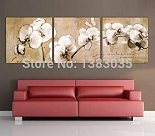DIU Hand Painted Decorative Orchid Flower Oil Painting Modern Abstract 3 Panel Canvas Wall Art Picture Set
