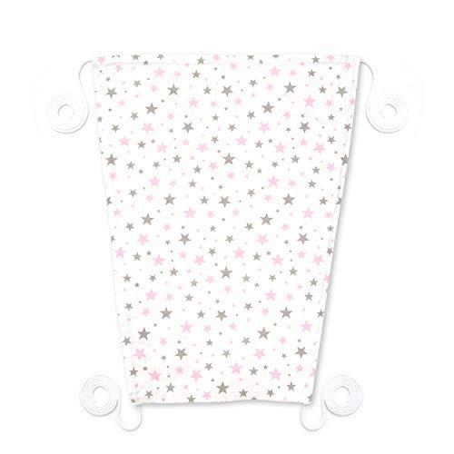 Amilian Sonnensegel für jeden Kinderwagen universal UV-Sonnenschutz für Baby luftdurchlässig (Sternchen KLEIN Rosa)
