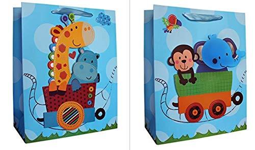 2 Premium-Geschenktaschen größer als DIN A4 in 3D Applikation 33cm x 27cm x 14cm Junge Mädchen Geschenktüten Groß Geburtstag Geburt Baby 2er Set (Kind 03)