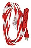 Hyper Tough 25-Foot Candy Cane Striped Extension Cord with 3 Grounded Outlets, Red/White