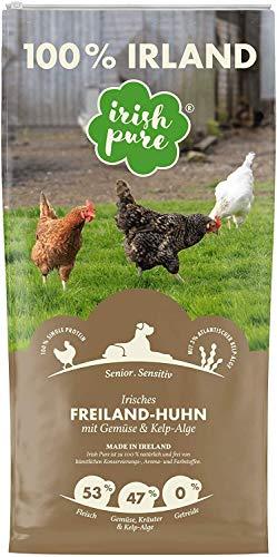 Irish Pure Senior Freiland-Huhn mit Kelp-Alge & Gemüse - Trockenfutter für Hunde, Hoher Fleischanteil, Vitamine, Getreidefrei, Sensitiv, Hundetrockenfutter, Hundefutter für alle Rassen (12kg)