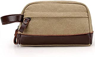 SODIAL Beige Zipper Men Travel Canvas Toiletry Bag Wash Shower Makeup Organizer Portable Case Pouch Faux Leather