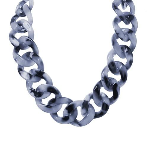 Vintage Boho Style Resin Link Cadena Choker Acrílico Chunky Chunky Declaración Collar Collar Collar Exagerado Joyería De Cadena De Suéter para Mujeres Chicas, 45 Cm