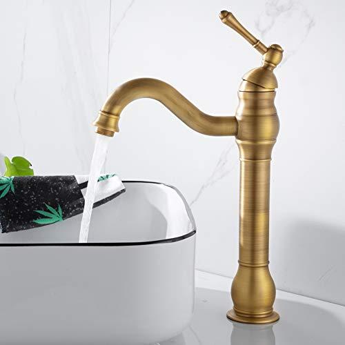 kisimixer Wasserhahn Matt Retro Einhebel Waschbecken Armatur 360°Schwenkbar Bad Wasserfall Wasserhahn-Waschtischarmatur Einhand Mischbatterie Waschtischbatterie Für Badezimmer, Antik Messing…