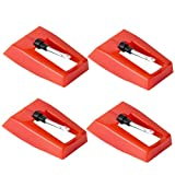 4PCS Record Player Needles, Universal Ceramic Ruby Phonograph Needles, Are Used for Vinyl Record Player, LP Record Player and Phonograph Turntable Needle Substitutes.