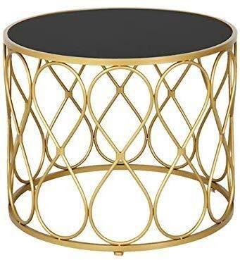 JIAHE115 Tragbare Kleiner Couchtisch Einfaches Wohnzimmer Couchtisch, kreativ Kleiner runder Tisch runden schwarzes Glas, Schmiedeeisen Couchtisch Kleiner Couchtisch Gold