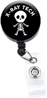 Sizzle City Retractable Badge Reels, Badge Holders, Name Tags (Alligator/Swivel Clip, Xray Tech Skeleton_Black 1.25)