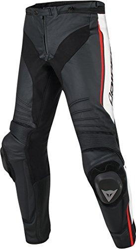 Dainese Lederhose Misano, schwarz/weiß/rot-fluo, Größe 52