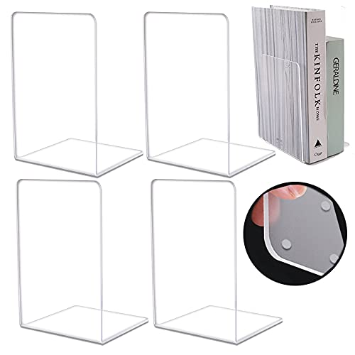 Acrylic Clear Bookends,4PC【Intensification】 3 mm Thickness Heavy Duty Bookends for Shelves,Book Ends for Home/Office Decorative,Book stoppers for Kids to Hold Books(with 30 Non-Slip Stickers)