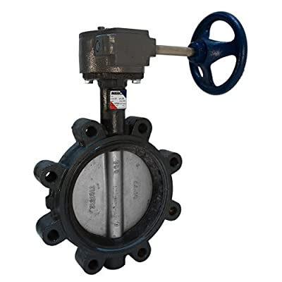 """NIBCO LD-3122-5 Series Ductile Iron Butterfly Valve with Buna-N Liner and Stainless Steel Disc, Gear Operator, Lug, 8"""" from NIBCO"""