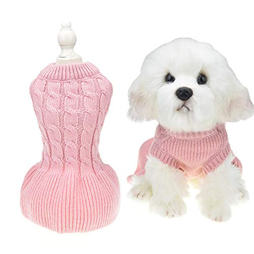 Small Dog Sweaters Female Girl Red Winter Warm Dog Princess Dress Clothes Dachshund Chihuahua Corgi (M(Bust 15.7inch), Pink)