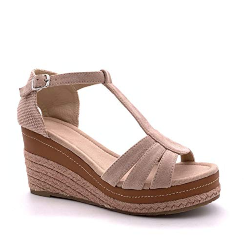 Angkorly - Damen Schuhe Sandalen Espadrille - T-Spange - Offen - Knöchelriemen - Riemen - mit Stroh - Geflochten Keilabsatz 8 cm - Rosa FL32 T 40