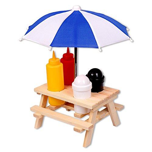 Schramm® Porta-especies Mesa de picnic con sombrilla Menage Mostaza Ketchup Sal Pimienta Dispensador BBQ Menage Porta-especies Juego de 6 piezas de porta-especies