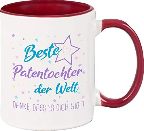 ShirtInStyle, Geschenkset, Tasse beste Patentochter der Welt, danke das es dich gibt! Farbe weinrot